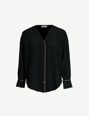 SANDRO V-neck trimmed silk shirt