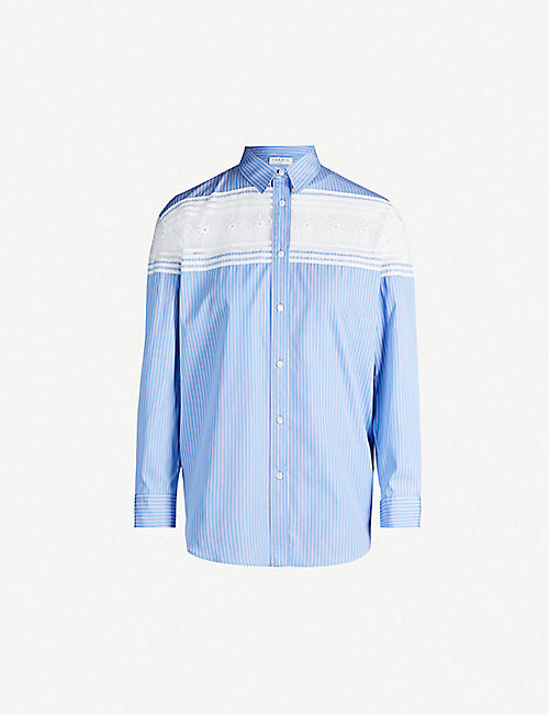 SANDRO Sheer lace-panel cotton shirt
