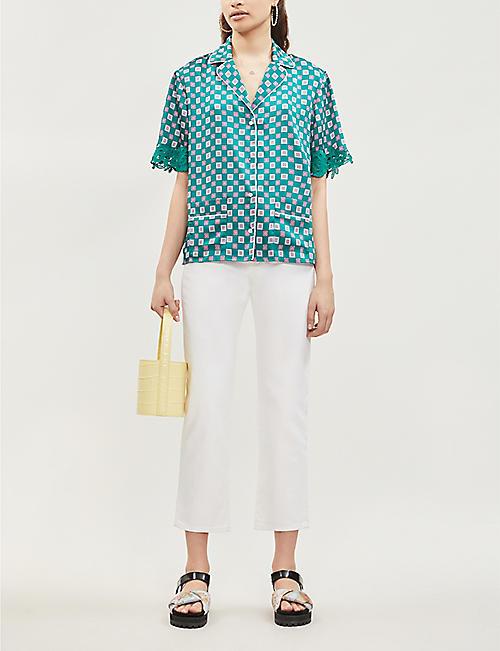 c948ef9fe1 SANDRO Tile-print satin-twill shirt