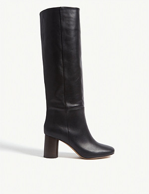 SANDRO Soan heeled knee-high leather boots