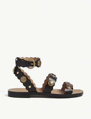 SANDRO Susie leather flat sandals