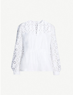 SANDRO Broderie anglaise panelled blouse