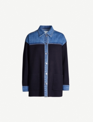 SANDRO Gwenaelle contrast panel denim shirt