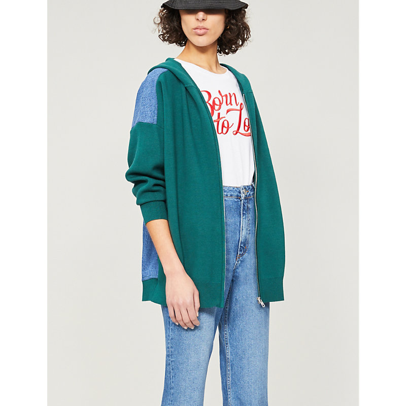 Sandro Tops PANELLED JERSEY AND DENIM HOODY