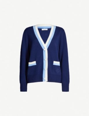 SANDRO Trimmed wool-cashmere blend cardigan