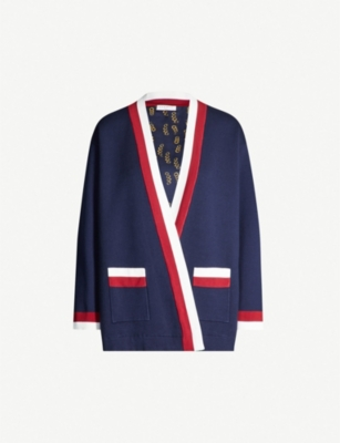 SANDRO Nouchica striped-trim woven cardigan