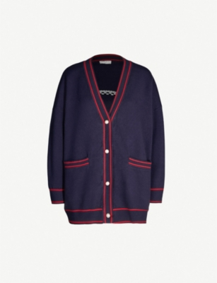 SANDRO Trimmed knitted cardigan