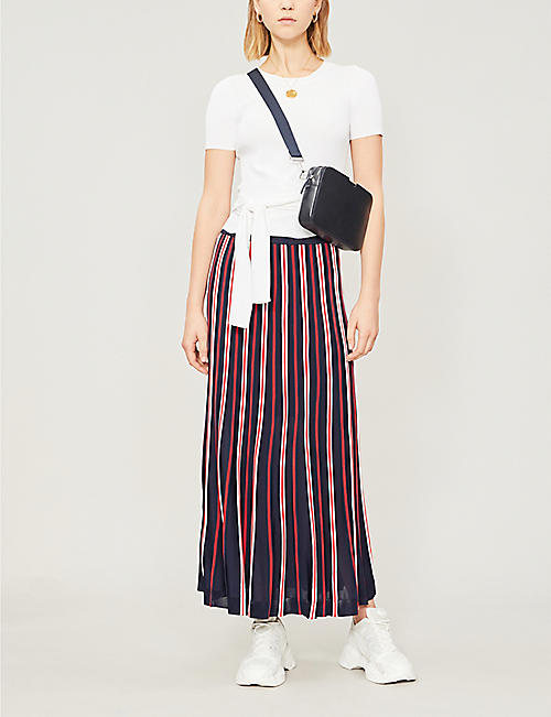 SANDRO Striped high-rise woven maxi skirt