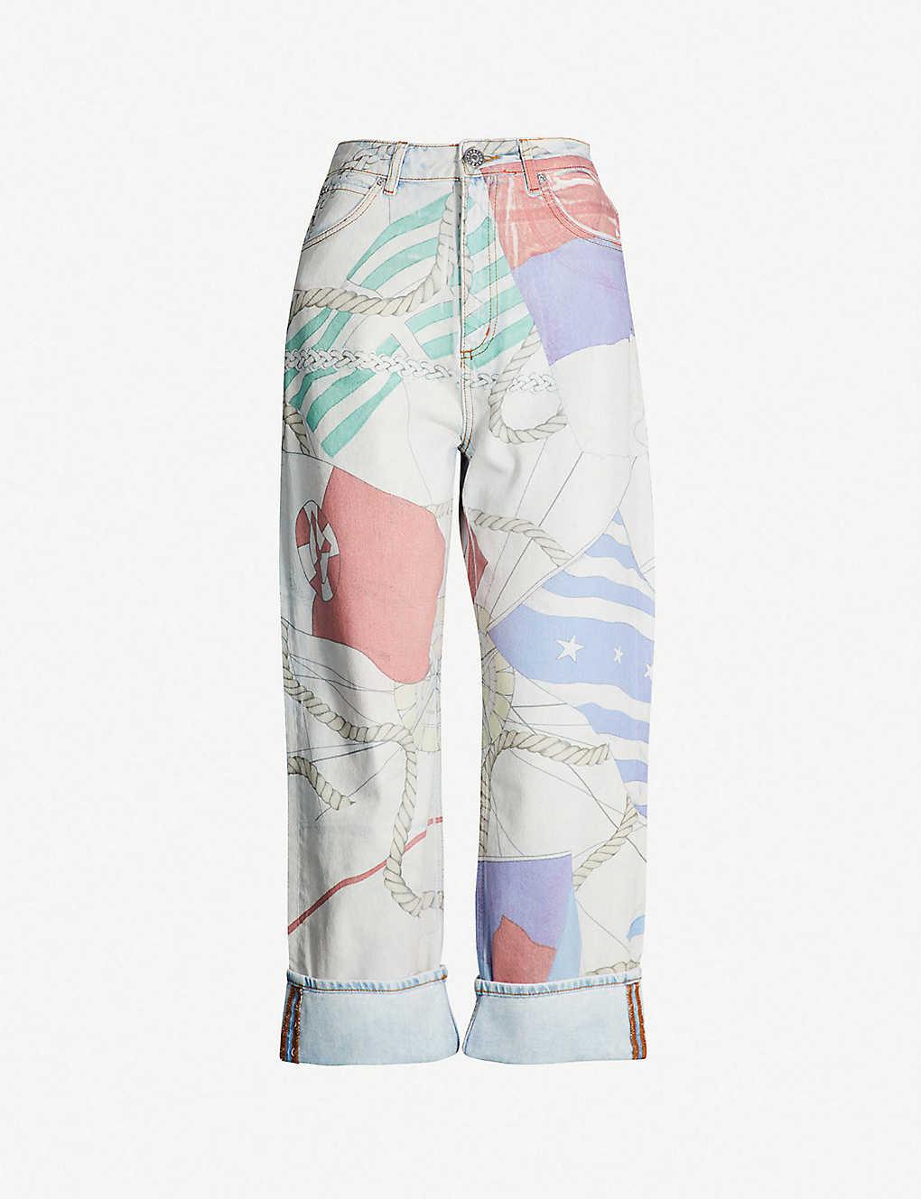 8ed254370b Wide-leg rope-print faded jeans