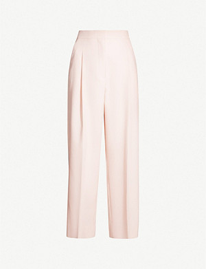 SANDRO High-rise wide twill trousers