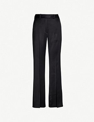 SANDRO Flared high-rise satin trousers