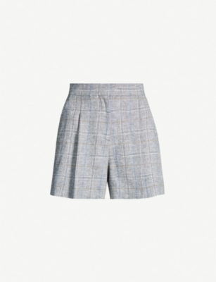 SANDRO Checked high-rise linen-blend shorts