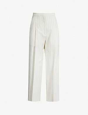 SANDRO Striped high-rise twill trousers