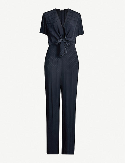 SANDRO V-neck short-sleeved satin-jacquard jumpsuit