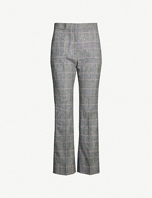 SANDRO Jessy checked mid-rise linen-blend trousers
