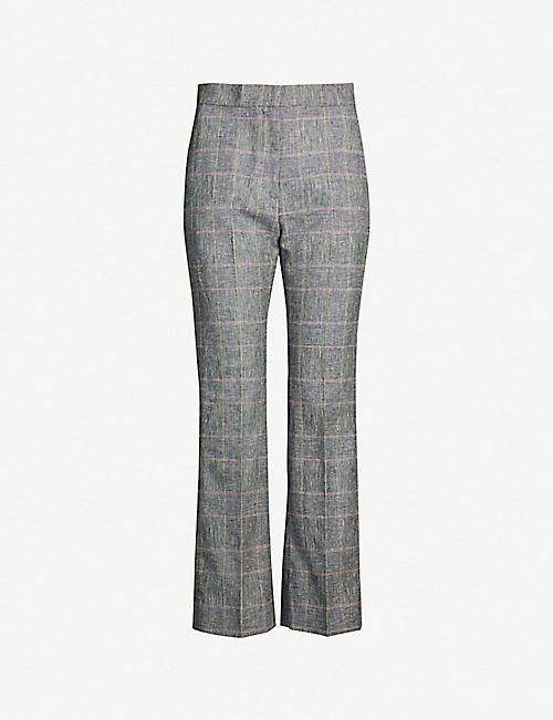 5c6ab14859 SANDRO Jessy checked mid-rise linen-blend trousers