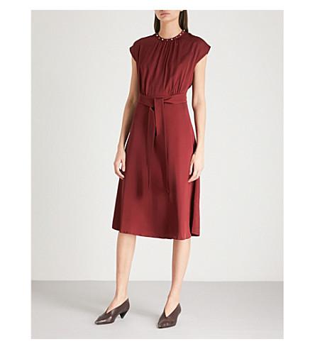 Conique High-Collar Tie Waist Dress, Rubis