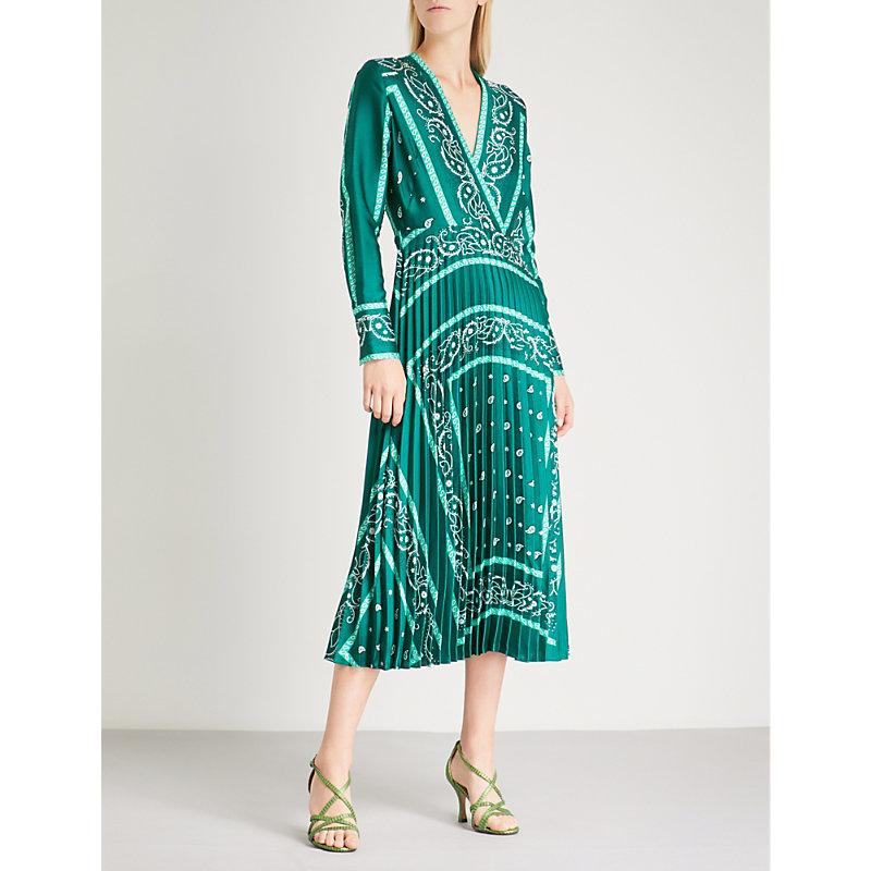 Cactus Bandana Print Pleated Midi Dress, Green