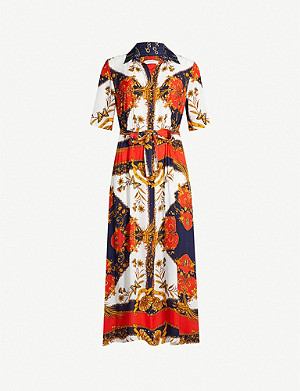 SANDRO Scarf-print crepe shirt dress