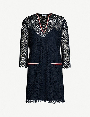 SANDRO Lina contrast-trim geometric-lace woven dress