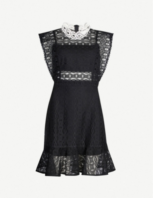 SANDRO Broderie anglaise panelled cotton-blend dress