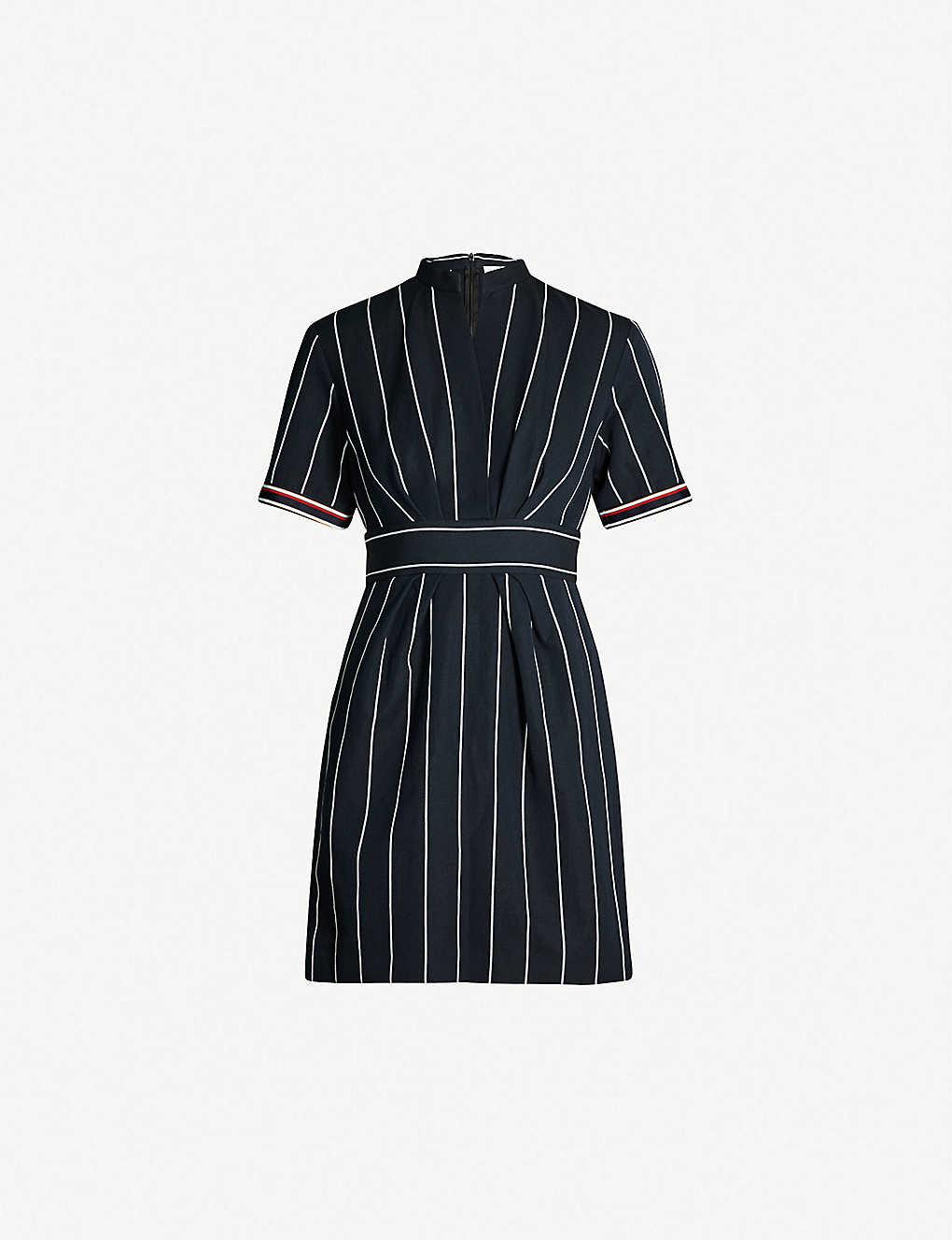 SANDRO - Francine stripe-pattern cotton and linen-blend mini