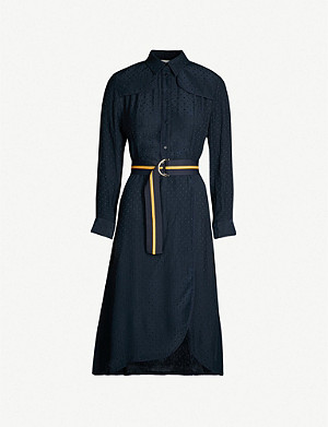 SANDRO Contrast belt woven dress