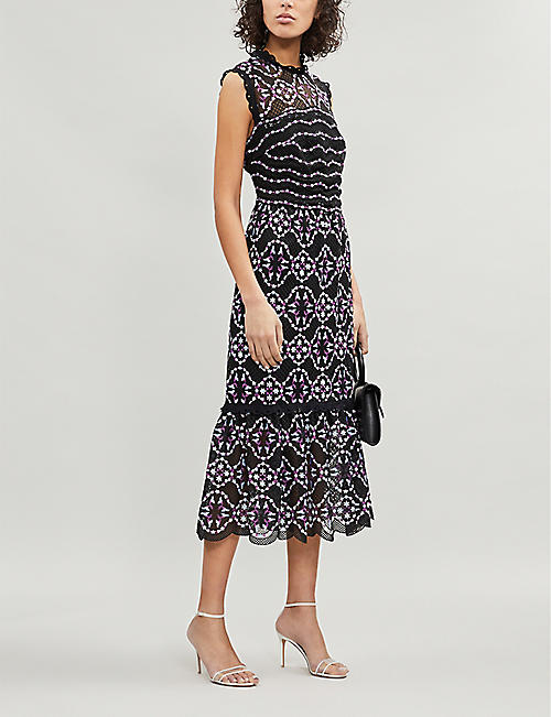 SANDRO Embroidered-lace floral dress