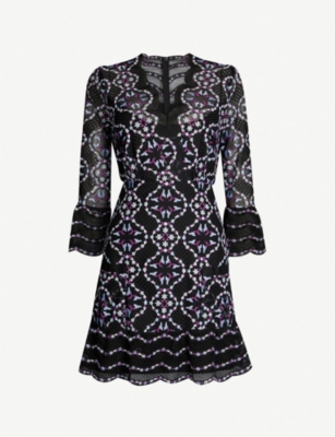 SANDRO Embroidered-lace floral mini dress