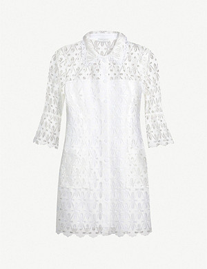 SANDRO Embroidered-lace mini shirt dress
