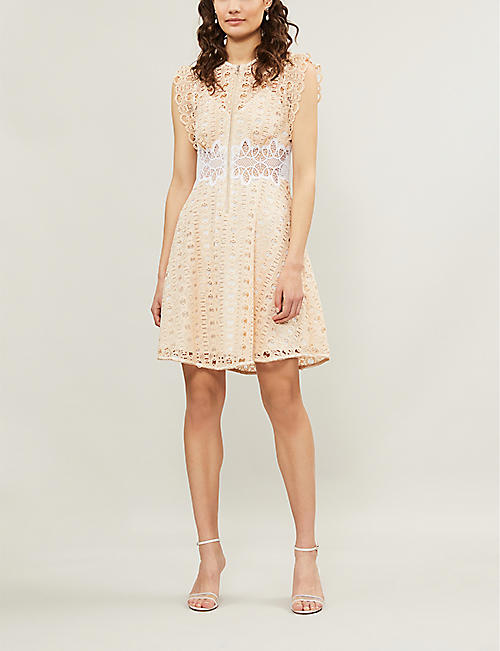 SANDRO Kamel sleeveless embroidered-lace dress