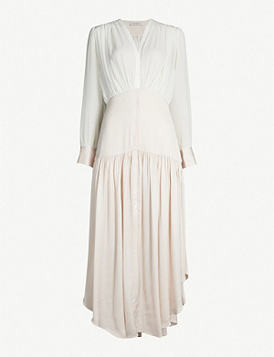 SANDRO Olive asymmetrical chiffon and satin dress