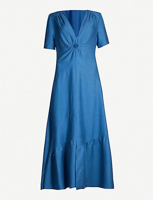 bcccd9bd4d1 SANDRO Cutout asymmetric-hem cotton-linen blend dress