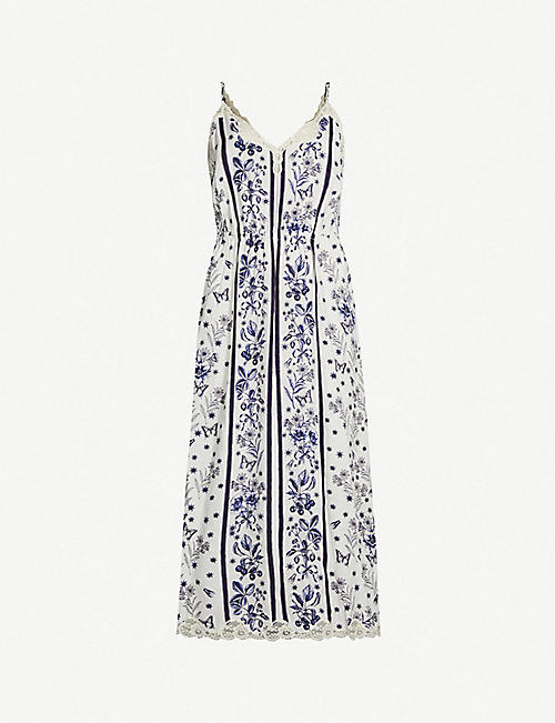 bb2c3db1a98 SANDRO Lace-trimmed floral-print woven dress