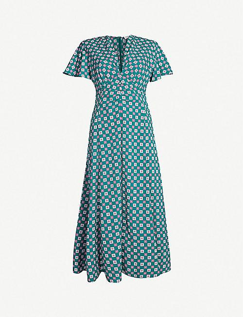 6d886ed9756b7 SANDRO Square-print crepe midi dress