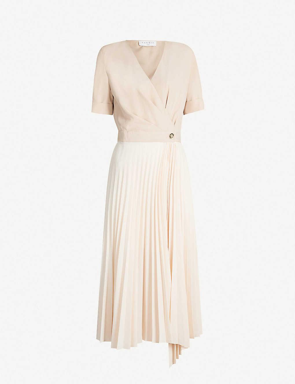 8db3fa1a6f SANDRO - Pleated short sleeved crepe dress   Selfridges.com