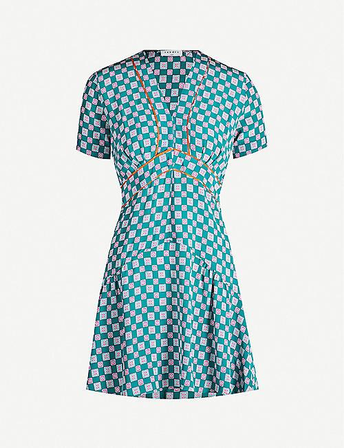 b49a12d3456 SANDRO Geometric-print short-sleeved satin mini dress