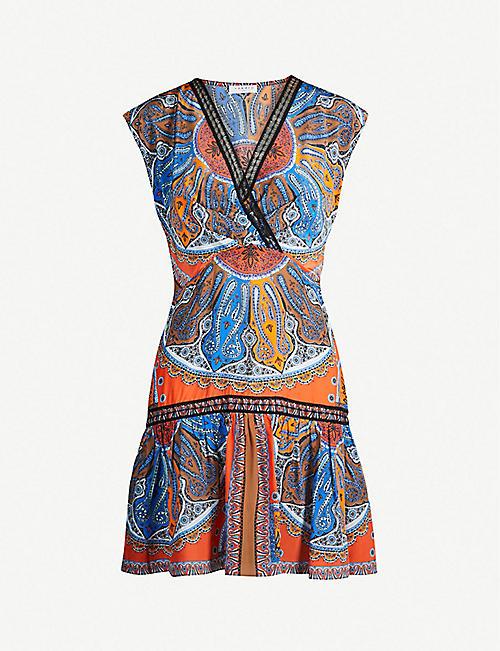 f5ce34079cf SANDRO Bandana-print short-sleeved satin mini dress