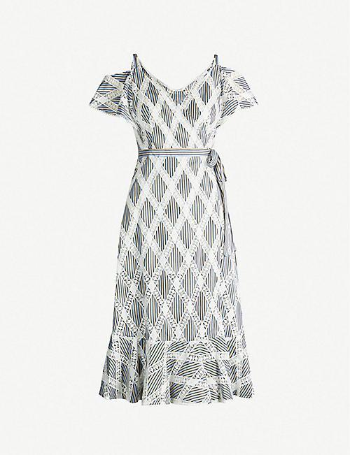 7704e68856228b SANDRO Cold-shoulder lace-panel twill dress