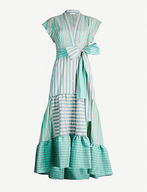 3a58885b3c SANDRO Striped short-sleeved woven wrap dress