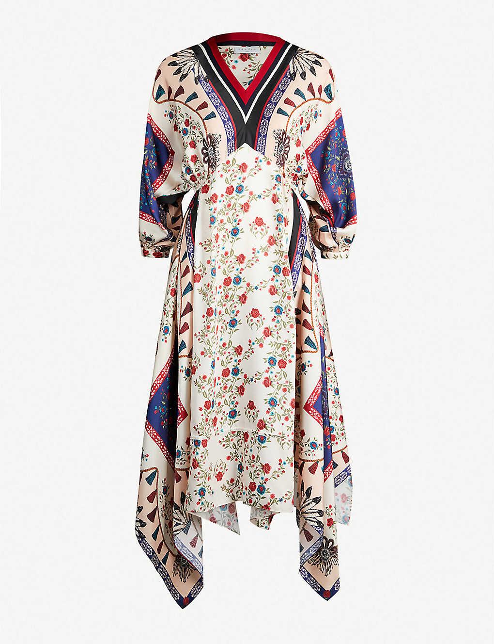 d2dd62de707 Mixed print V-neck short-sleeved satin dress - Multi color ...