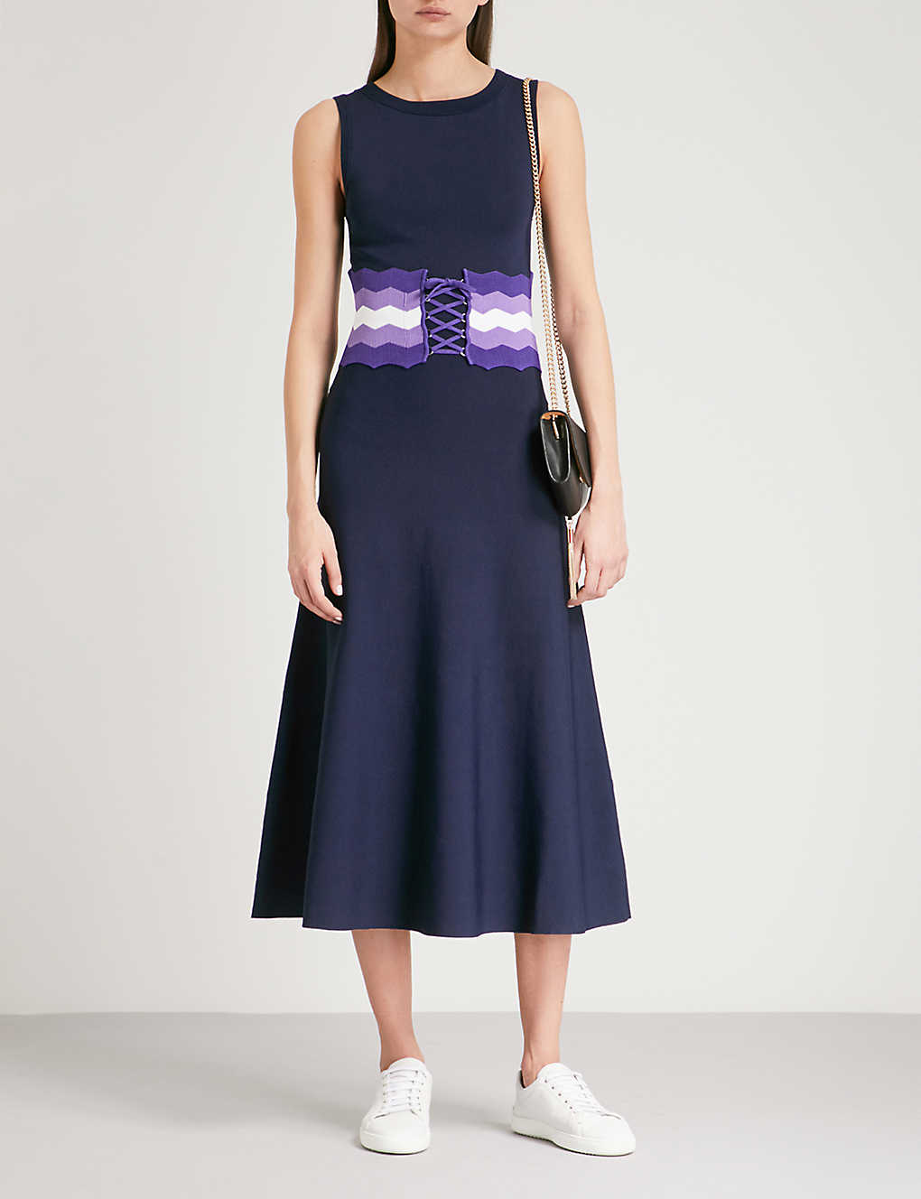 7454590f0 SANDRO - Belted stretch-knit midi dress | Selfridges.com