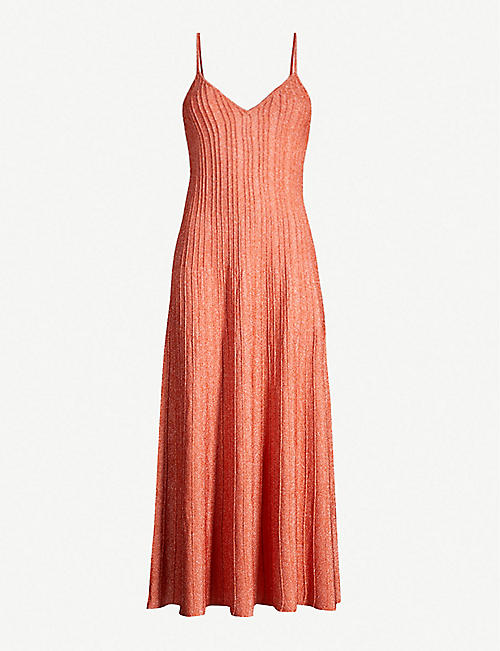 SANDRO Metallic stretch-knit maxi dress