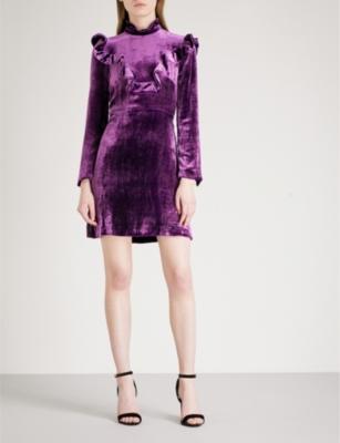 SANDRO High-neck velvet dress