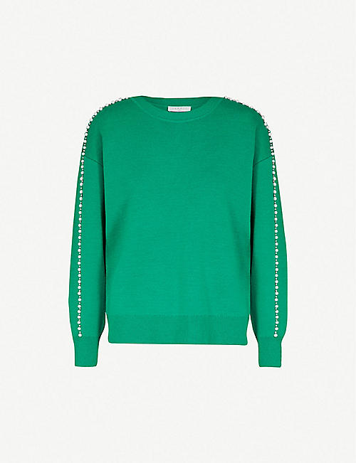SANDRO Embellished-trim knitted sweater 220bc580d