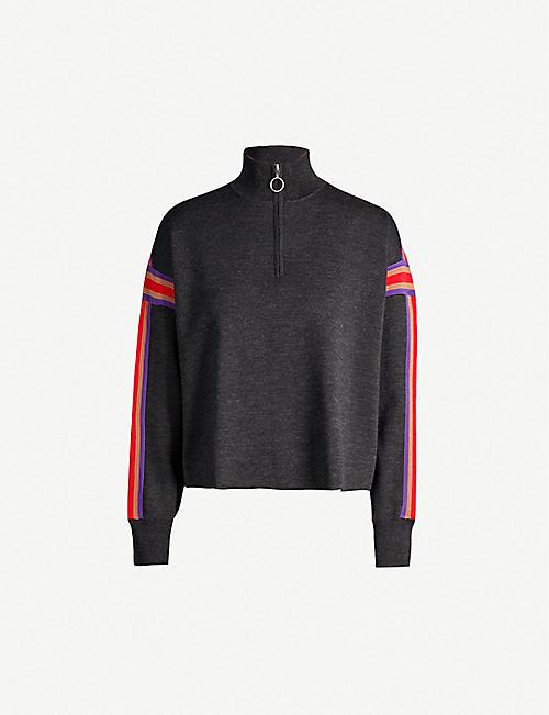794c611963f SANDRO Contrast stripe detail funnel neck jersey knit jumper
