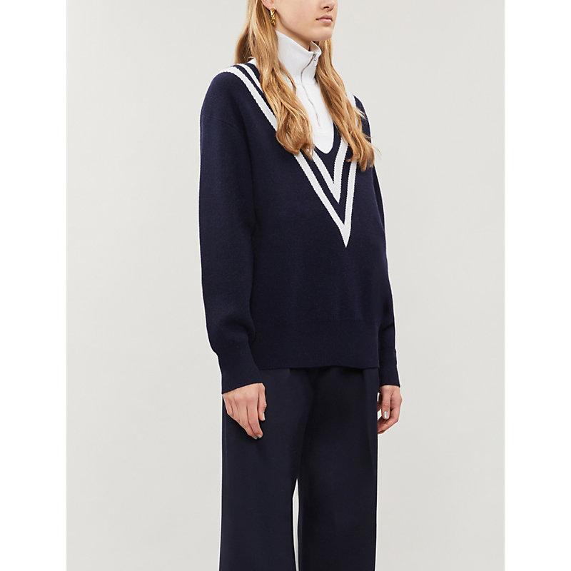 Contrast Stripe V-Neck Knitted Jumper in Deep Navy