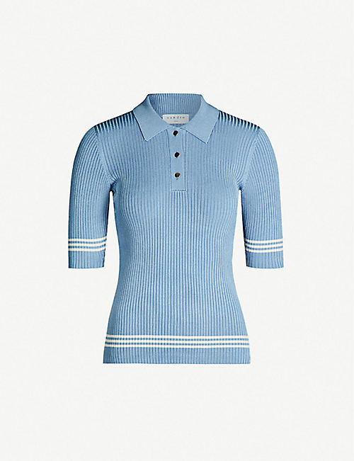 0391d3f1164c7b SANDRO Striped-sleeve knitted polo shirt