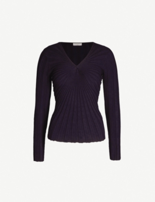 SANDRO Ribbed stretch-knit jumper