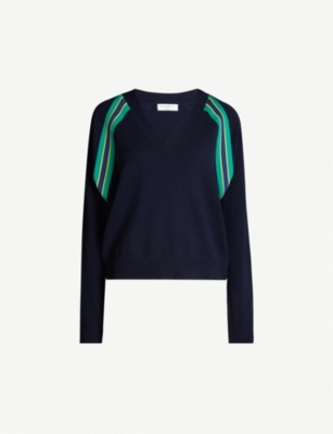 SANDRO Striped trim wool-cashmere blend jumper